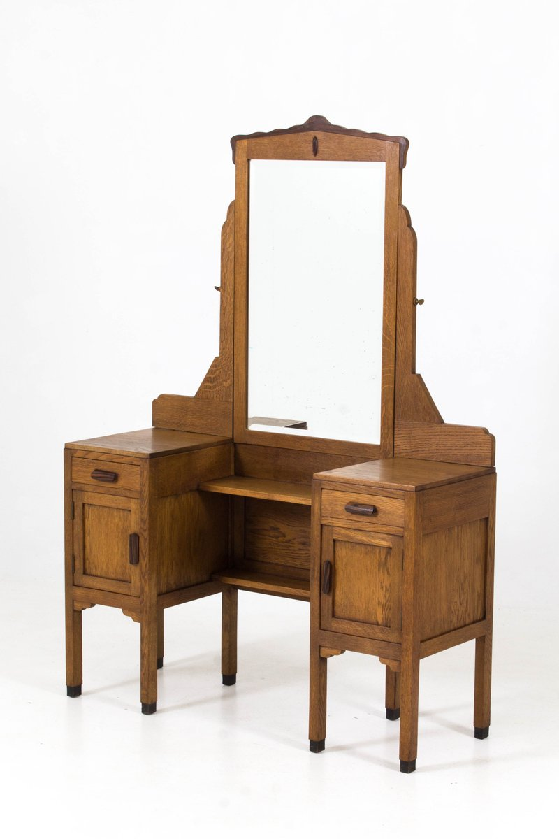 Art Deco Amsterdam School Oak Vanity from Fa.Drilling, 1920s - Art Deco Amsterdam School Oak Vanity From Fa.Drilling, 1920s For