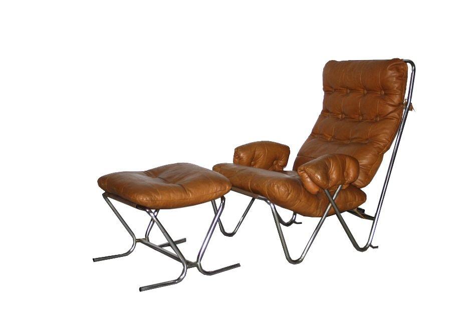 cognacfarbener mid century sessel und ottomane aus leder. Black Bedroom Furniture Sets. Home Design Ideas