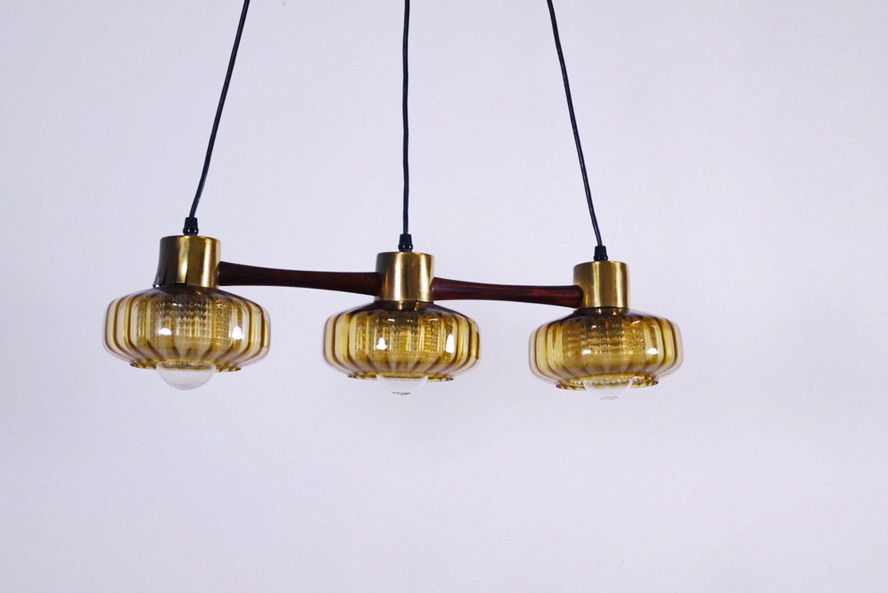suspension lighting. Swedish Teak Suspension Lamp With Three Yellow Glass Diffusers, 1960s Lighting