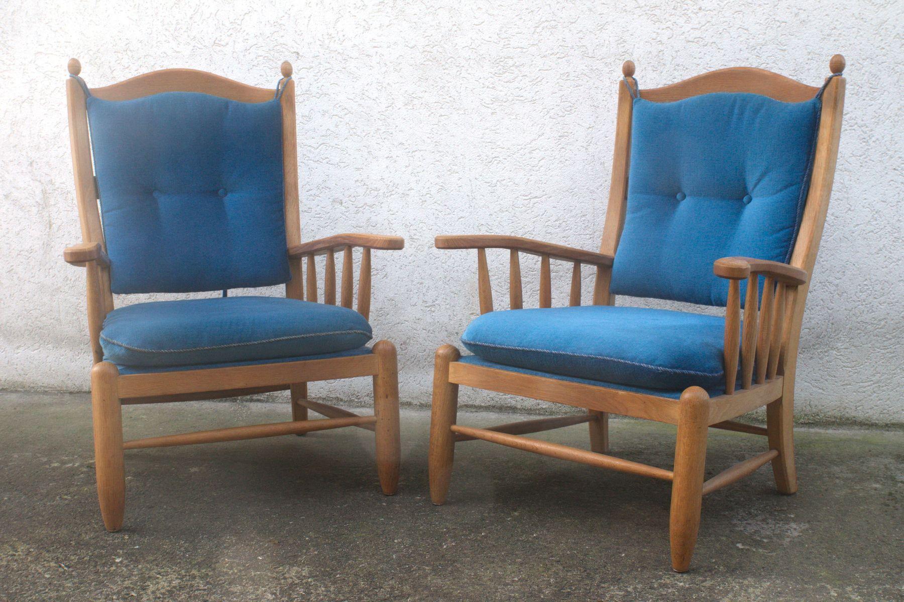 mid century sessel aus eiche blauem samt 1960er 2er set bei pamono kaufen. Black Bedroom Furniture Sets. Home Design Ideas