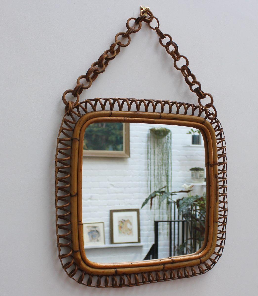 italienischer spiegel mit rahmen aus rattan bambus 1960er bei pamono kaufen. Black Bedroom Furniture Sets. Home Design Ideas