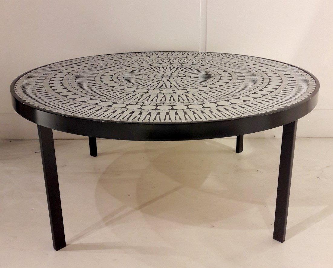 vintage aluminium mosaik couchtisch von raf verjans bei. Black Bedroom Furniture Sets. Home Design Ideas