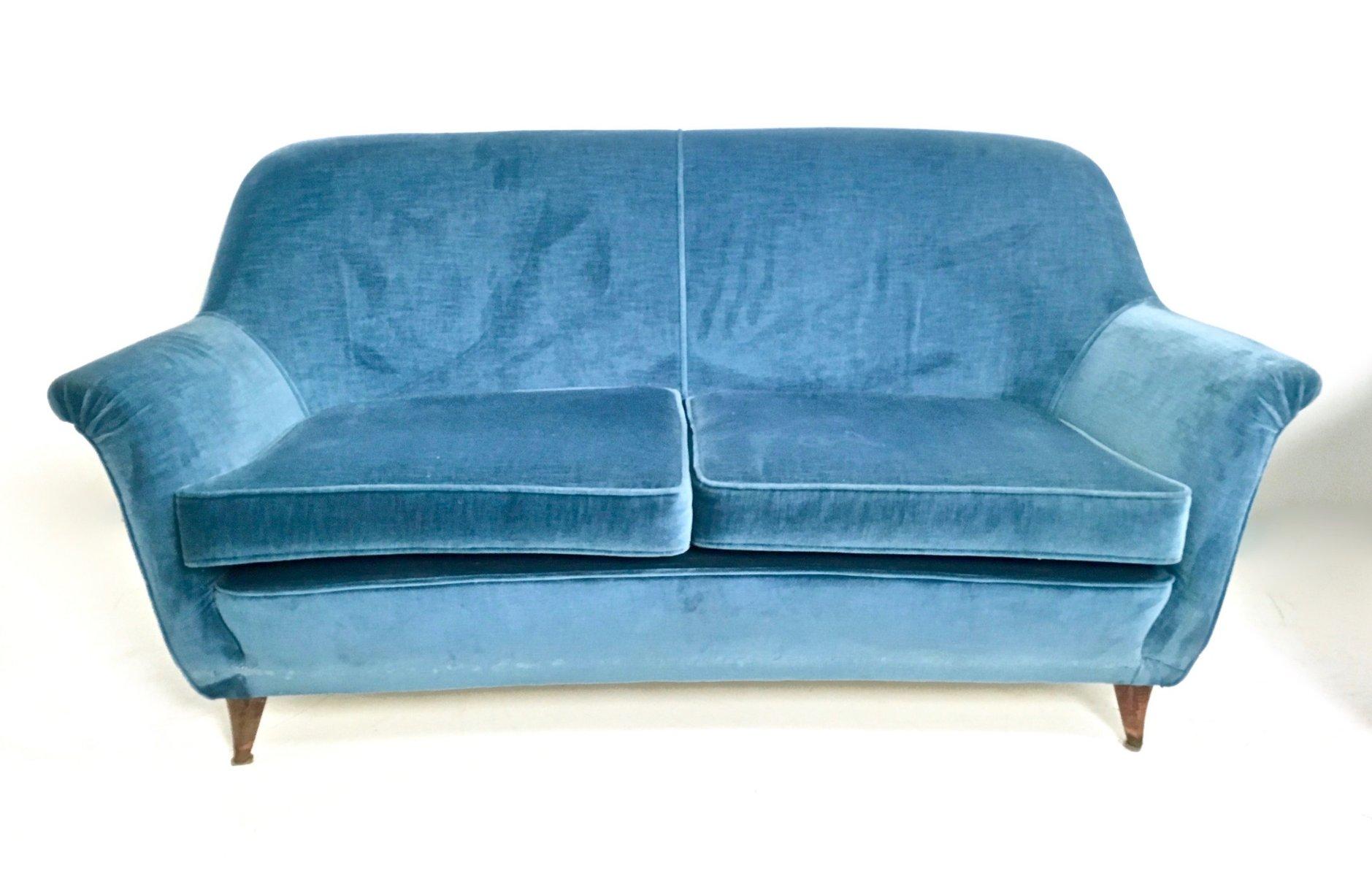 italienische sitzgruppe in blauem samtbezug 1950er bei pamono kaufen. Black Bedroom Furniture Sets. Home Design Ideas
