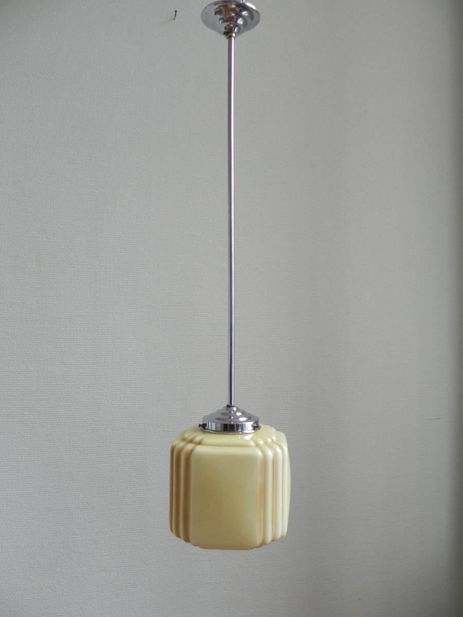 Art Deco Hanging Lamp With Cube Shaped Diffuser 1930s For Sale At Pamono