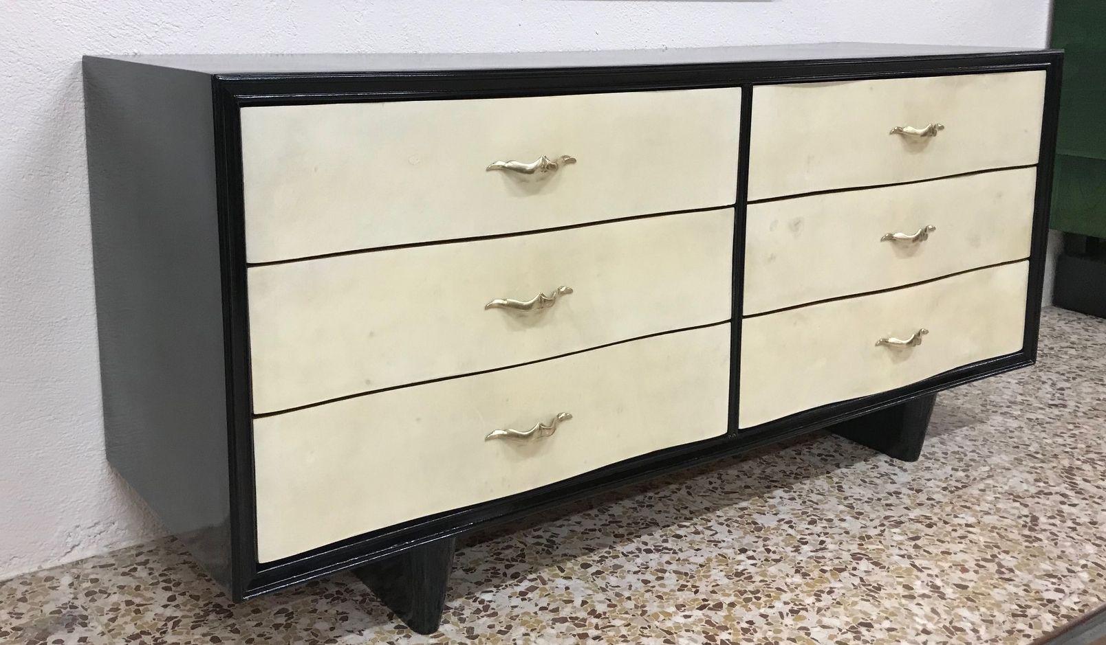art deco pergament kommode 1940er bei pamono kaufen. Black Bedroom Furniture Sets. Home Design Ideas