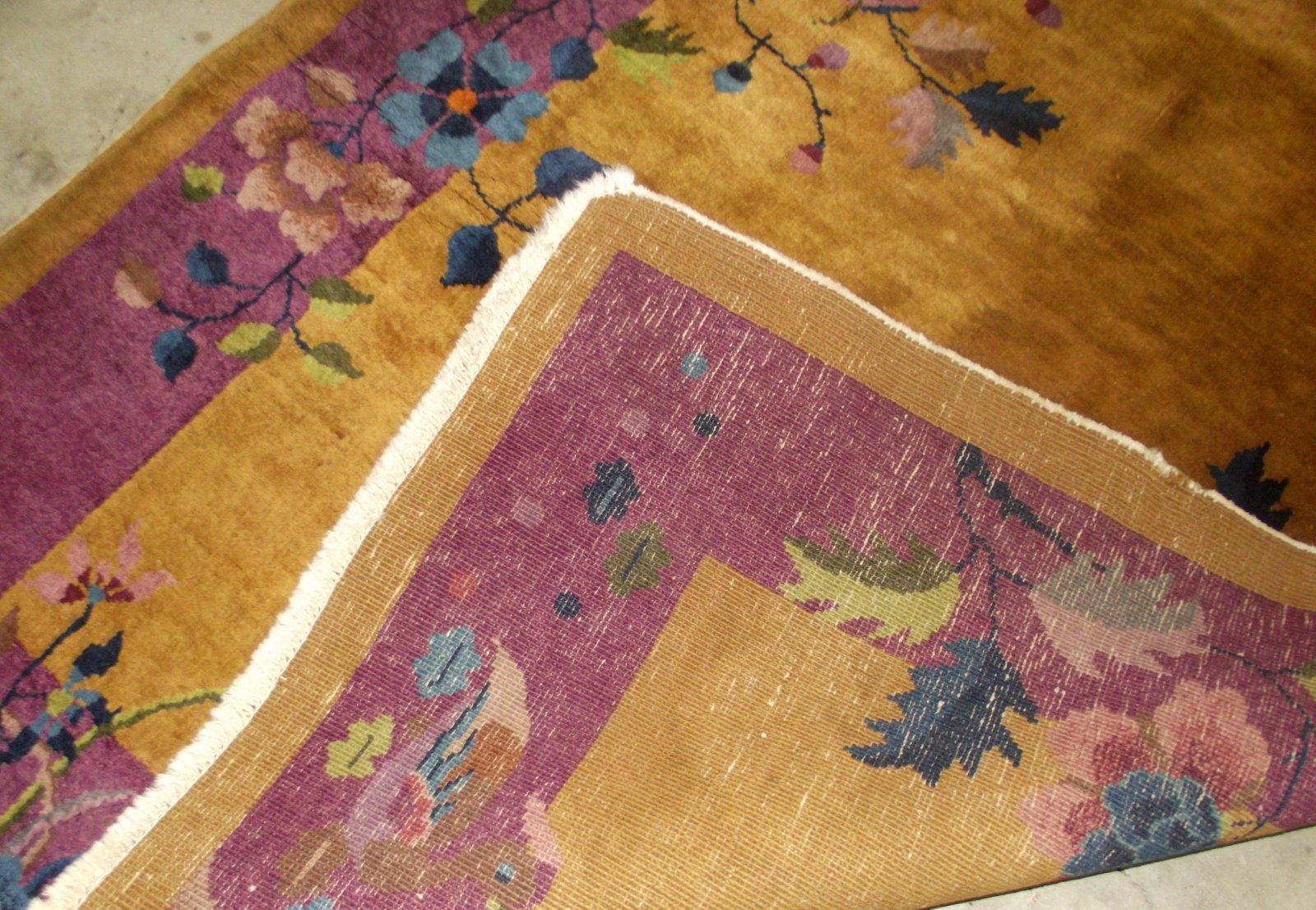 handgefertigter chinesischer vintage art deco teppich 1920er bei pamono kaufen. Black Bedroom Furniture Sets. Home Design Ideas