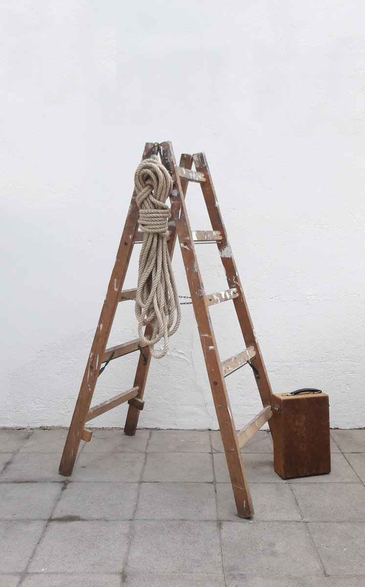 Folding Wooden Painters Ladder 1960s for sale at Pamono