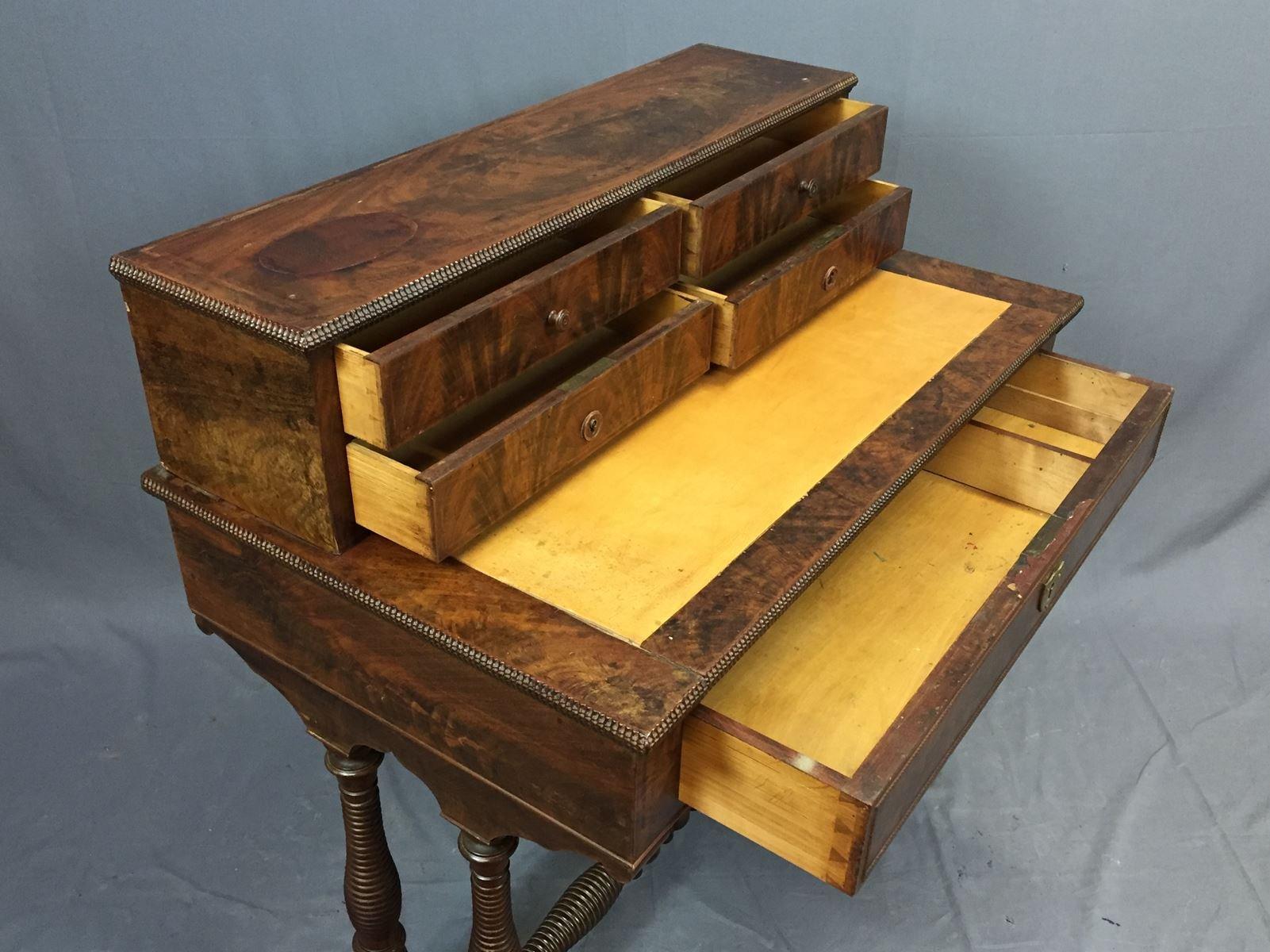 antiker schreibtisch aus mahagoni bei pamono kaufen. Black Bedroom Furniture Sets. Home Design Ideas