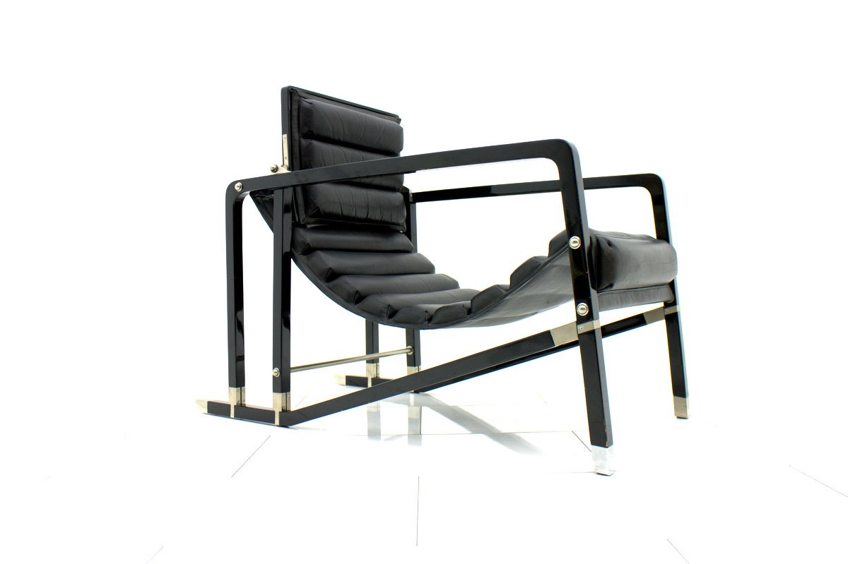 schwarzer vintage sessel von eileen gray f r ecart international 1980er bei pamono kaufen. Black Bedroom Furniture Sets. Home Design Ideas