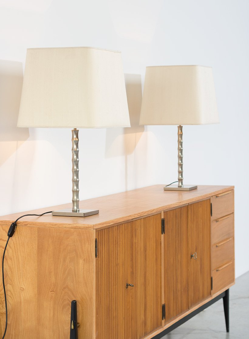moderne vintage tischlampen in bambus optik 2er set bei pamono kaufen. Black Bedroom Furniture Sets. Home Design Ideas