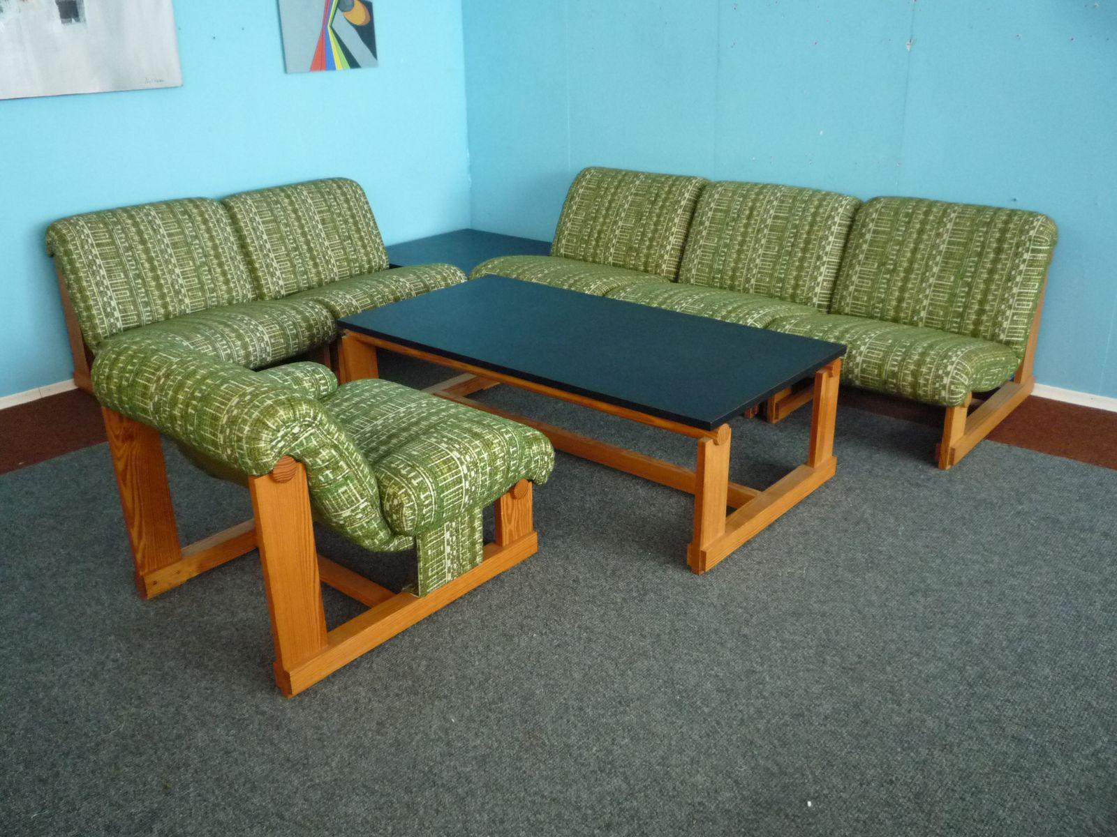Set da salotto vintage in legno di abete con 2 tavolini da caffè ...