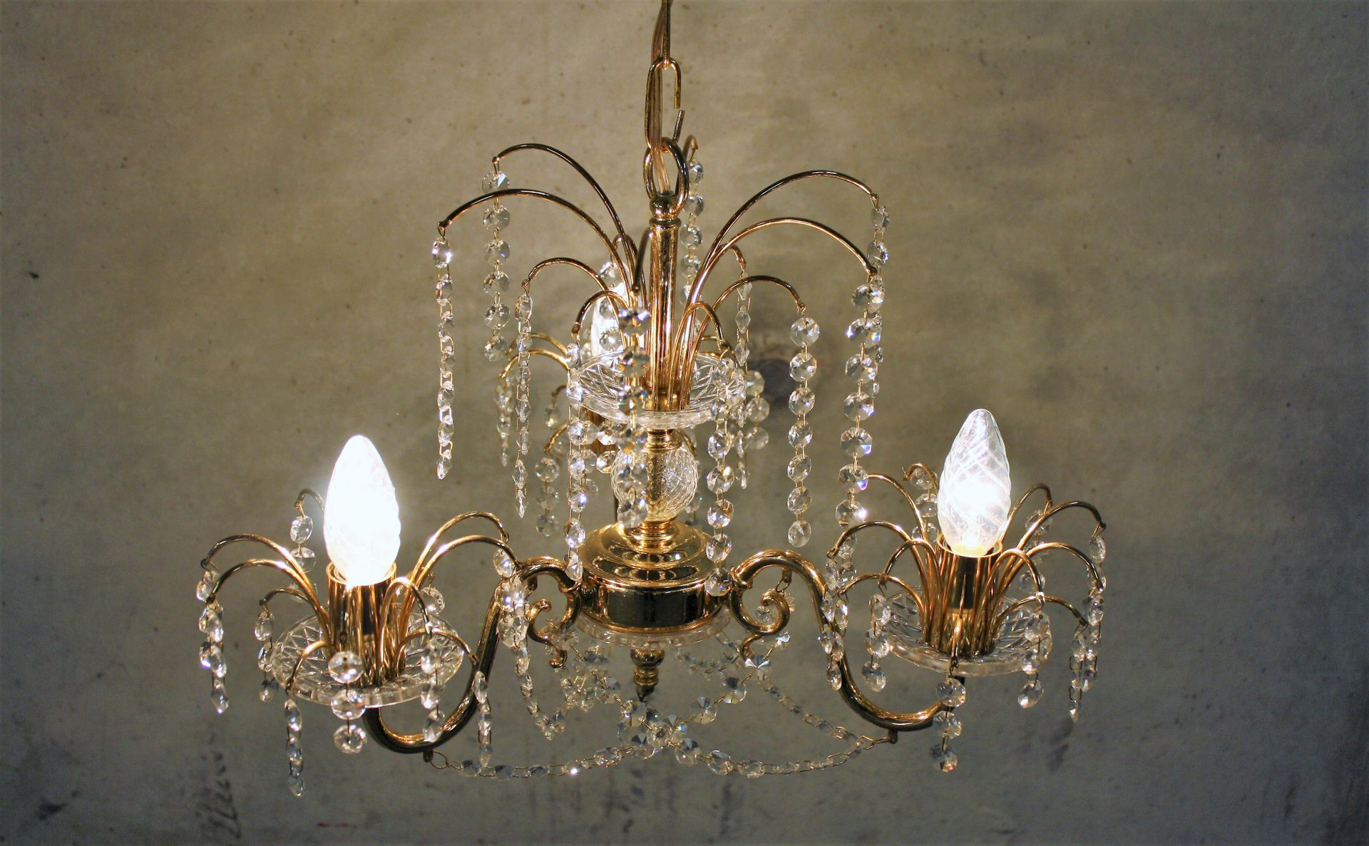 Vintage Brass Crystal Chandelier 1970s for sale at Pamono