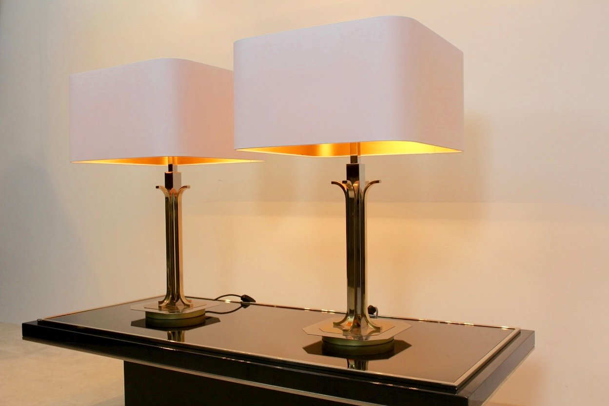 Mid century modern brass and chrome table lamps set of 2 for sale price per set mozeypictures Choice Image