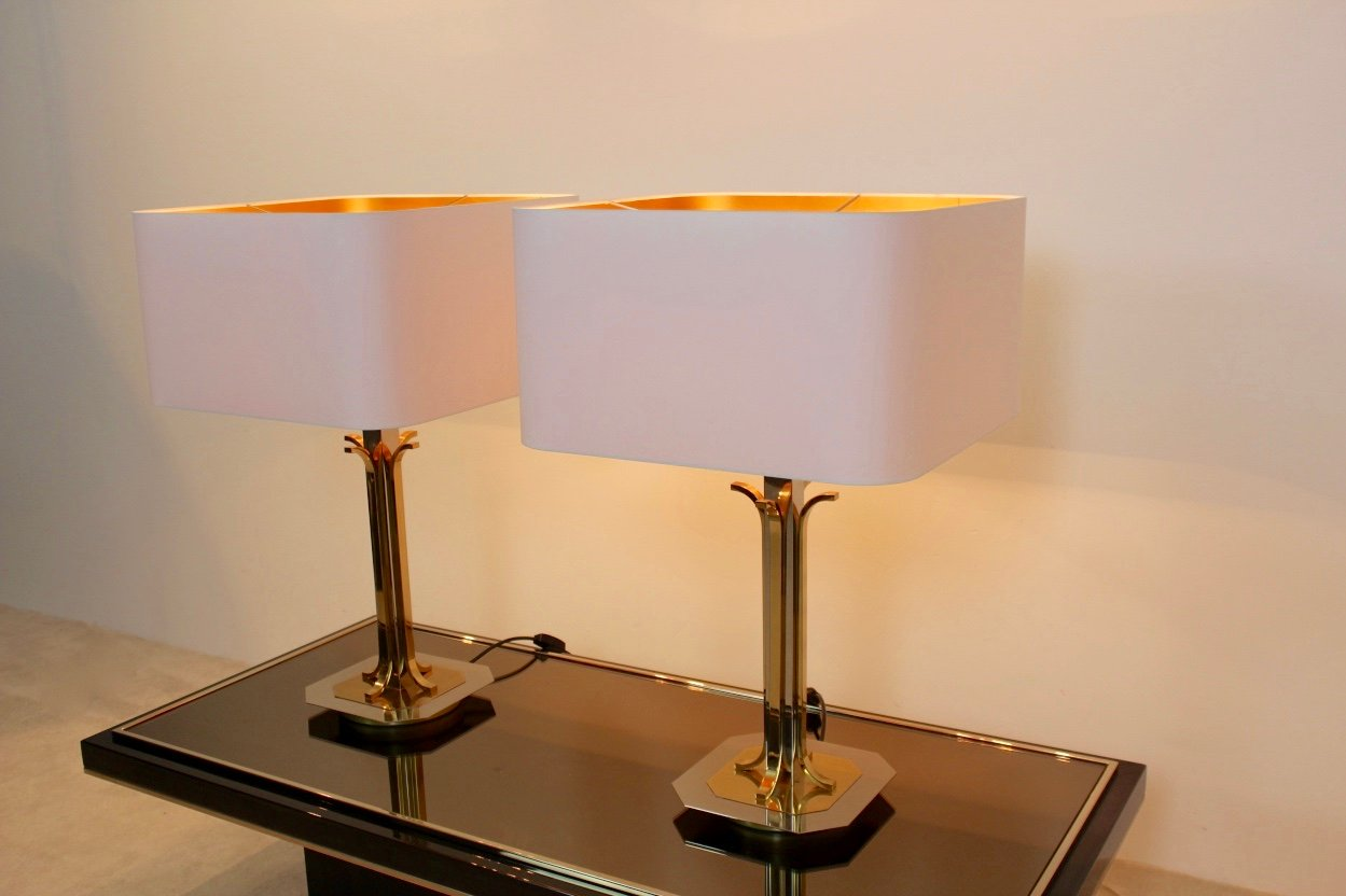 Mid century modern brass and chrome table lamps set of 2 en venta previous aloadofball Gallery