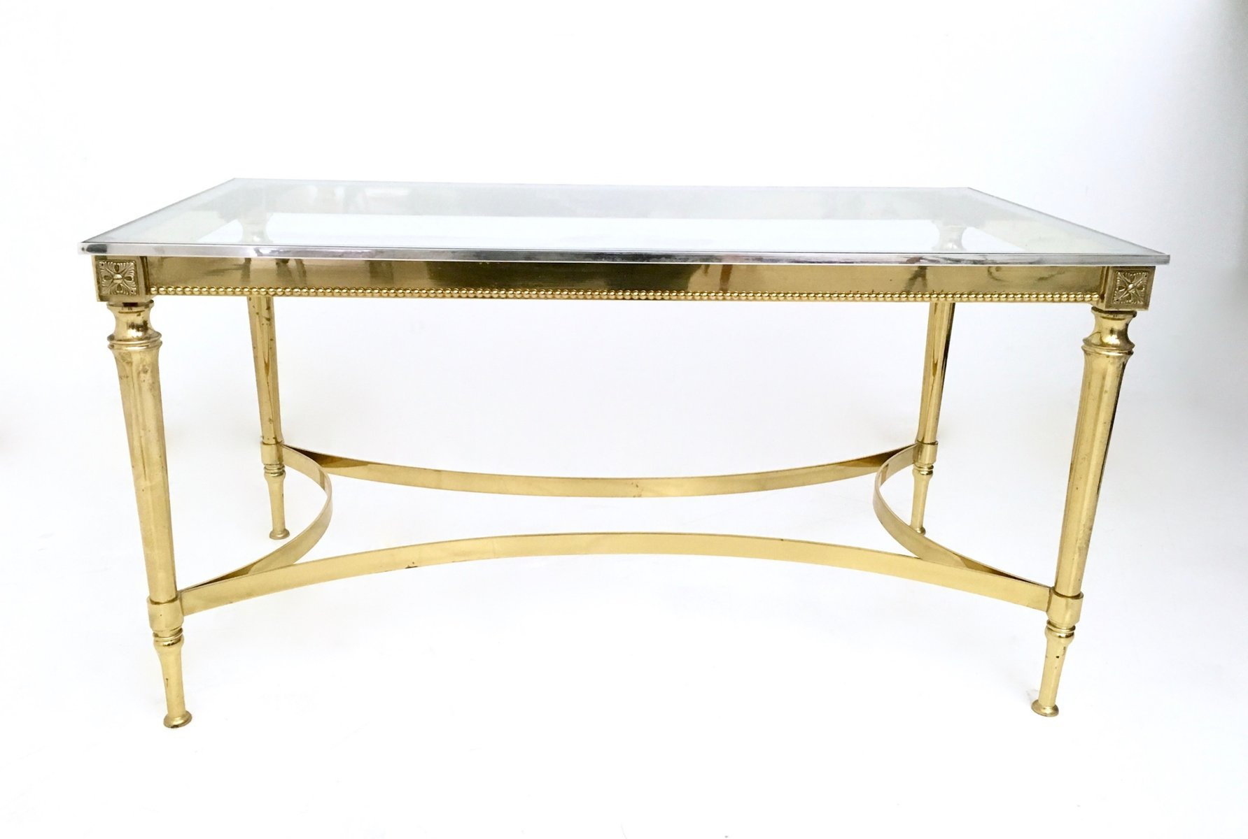 Mid Century Glass and Metal Coffee Table for sale at Pamono