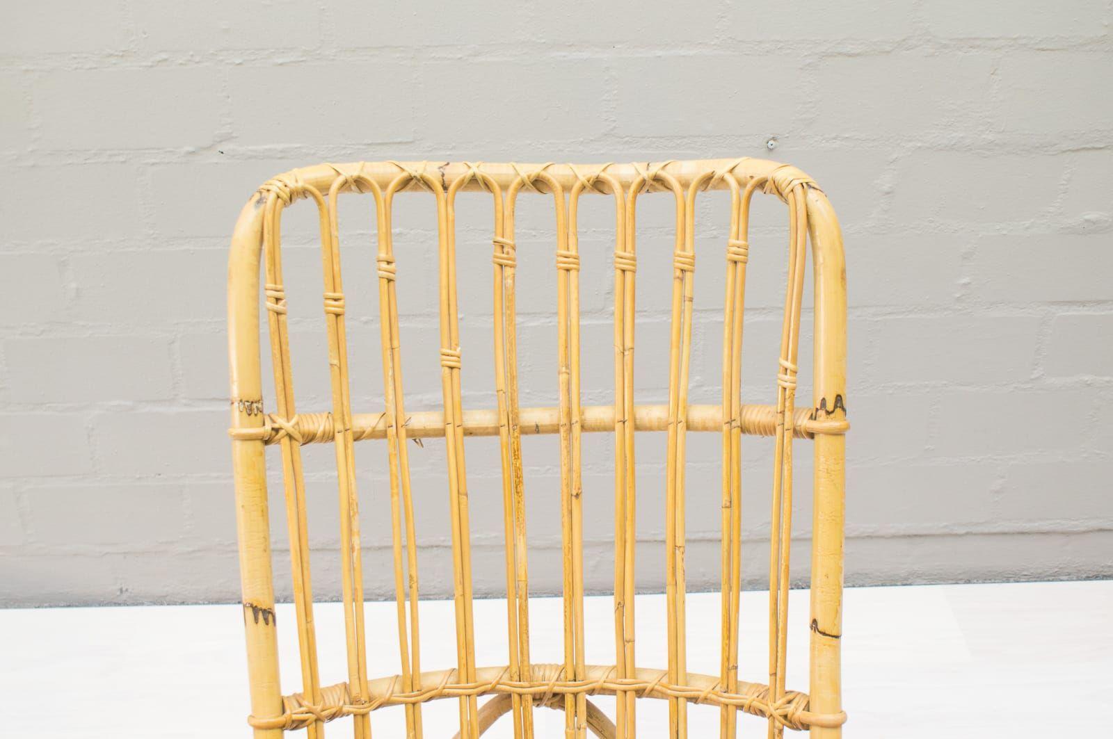 Vintage rattan und bambus schaukelstuhl 1970er bei pamono for Schaukelstuhl bambus