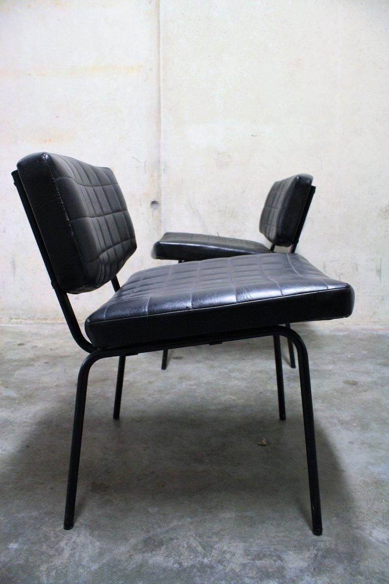 schwarze vintage kunstleder st hle von pierre guariche f r On kunstleder für stühle