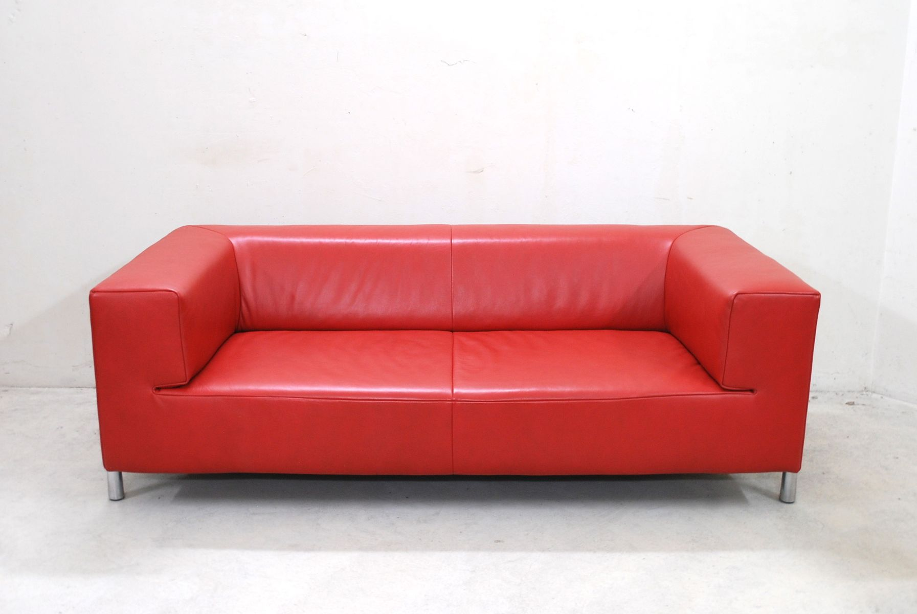 vintage red leather genesis sofa from koinor for sale at. Black Bedroom Furniture Sets. Home Design Ideas