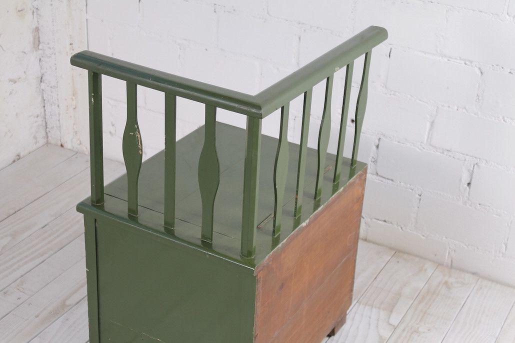 antike gr ne sitzbank mit aufbewahrung bei pamono kaufen. Black Bedroom Furniture Sets. Home Design Ideas