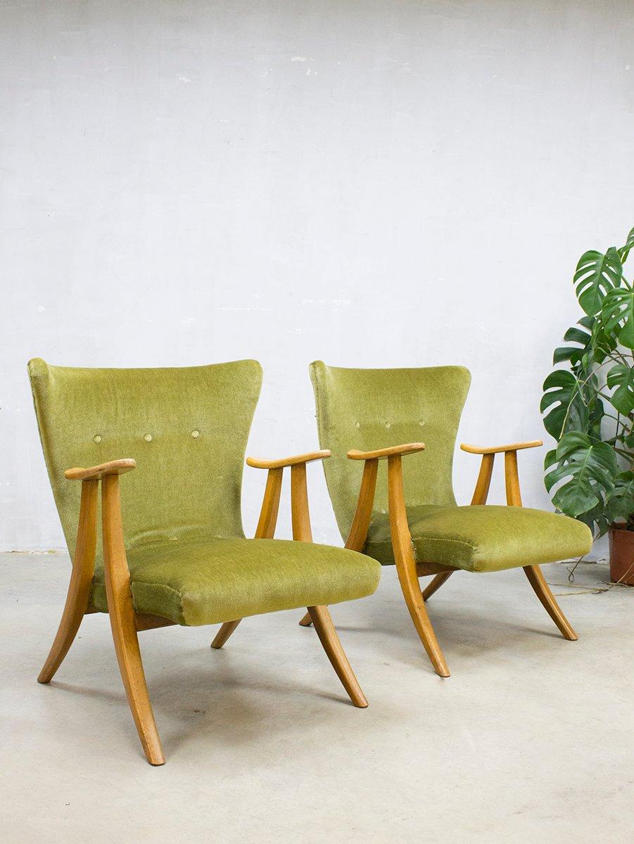 d nischer ohrensessel in samt 1950er bei pamono kaufen. Black Bedroom Furniture Sets. Home Design Ideas