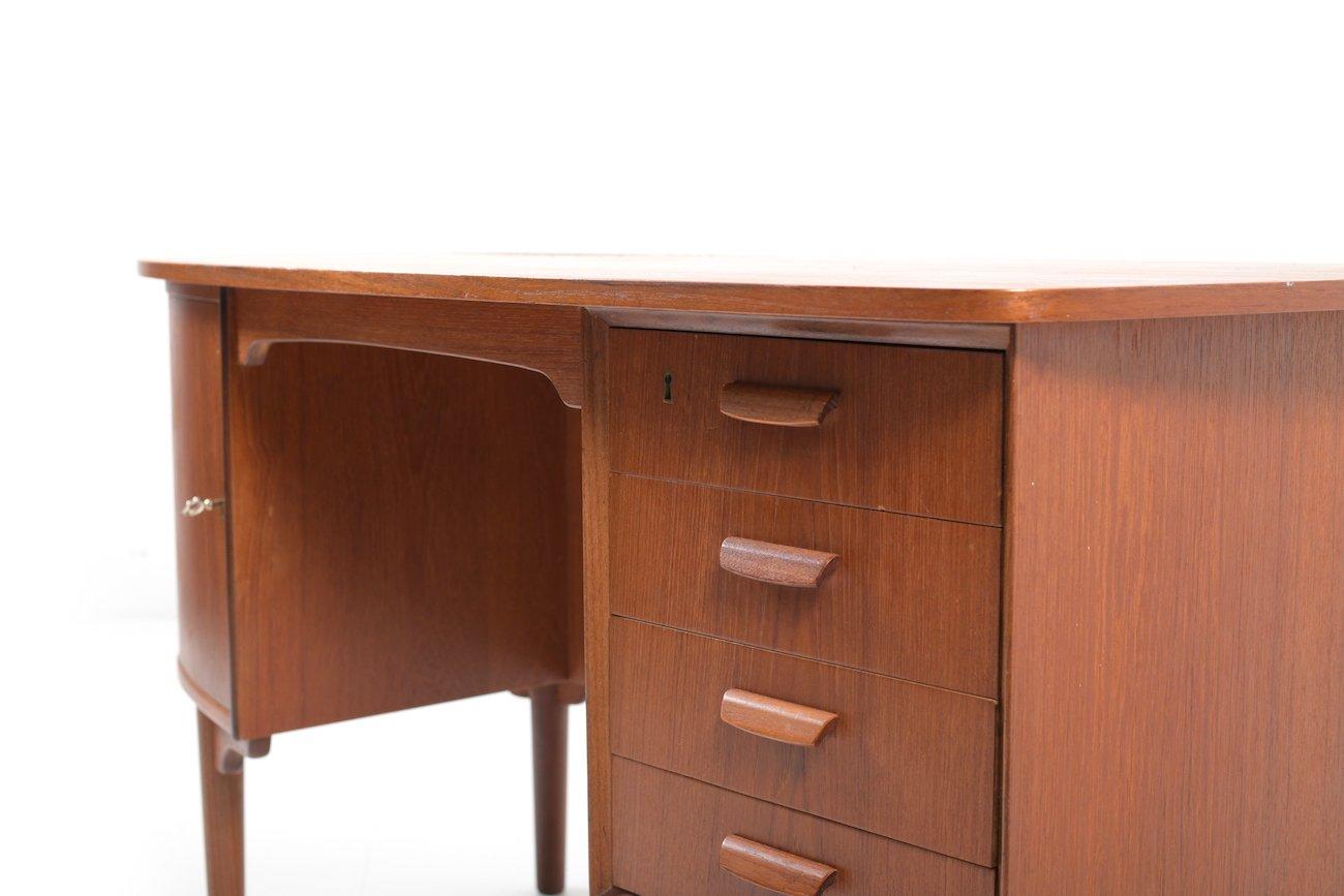 d nischer mid century schreibtisch aus teakholz 1960er bei pamono kaufen. Black Bedroom Furniture Sets. Home Design Ideas