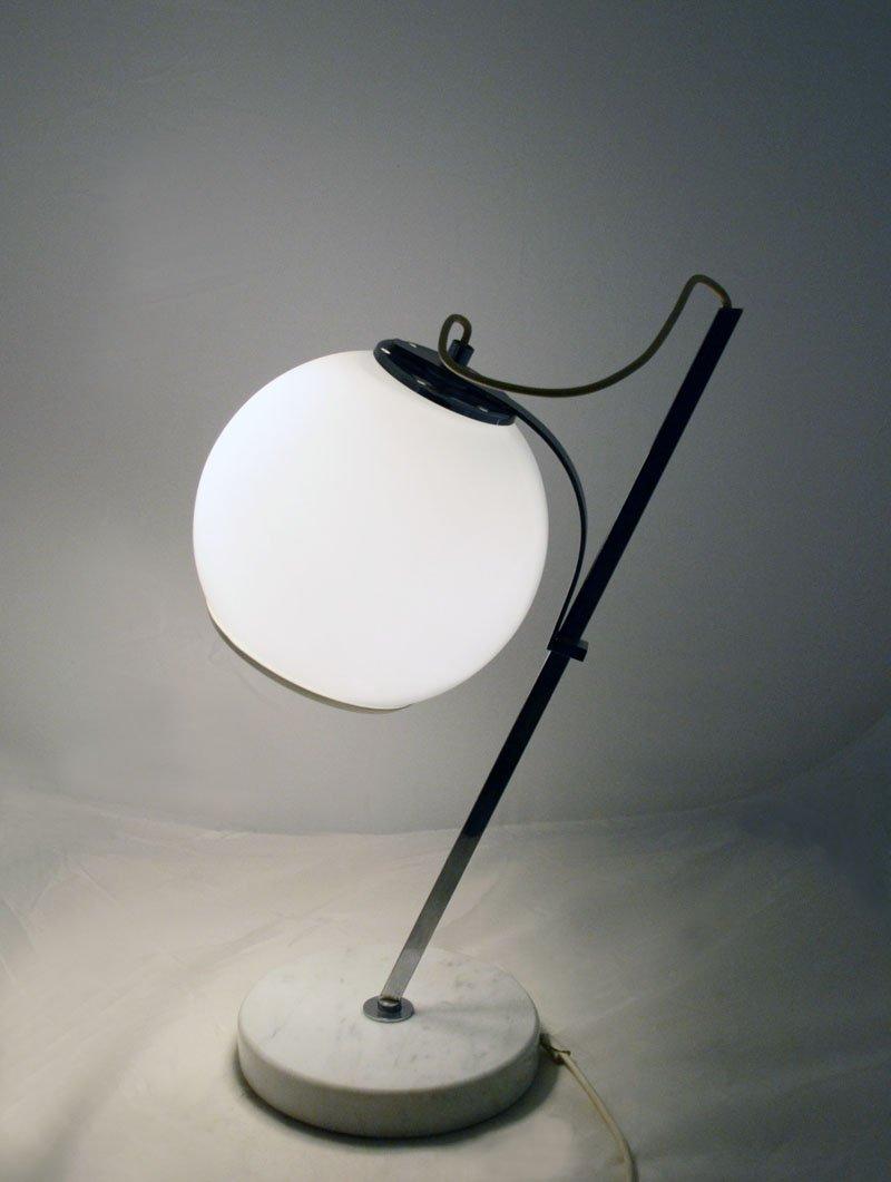 wei e tischlampe mit verstellbarem glas lampenschirm und marmor fu 1970er bei pamono kaufen. Black Bedroom Furniture Sets. Home Design Ideas