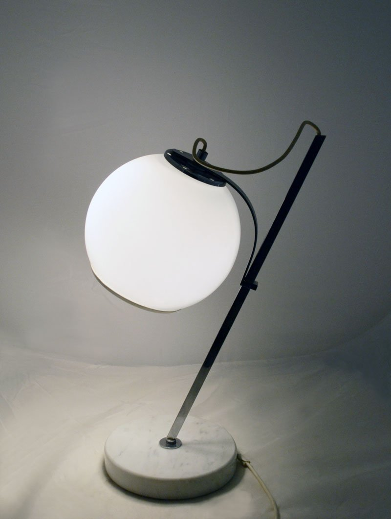 White Table Lamp With Adjustable Glass Lampshade And