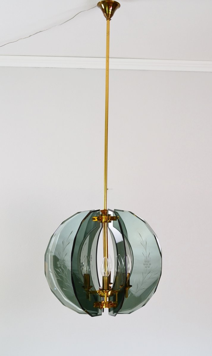 Mid century italian brass and green cut glass chandelier 1950s en mid century italian brass and green cut glass chandelier 1950s aloadofball Gallery