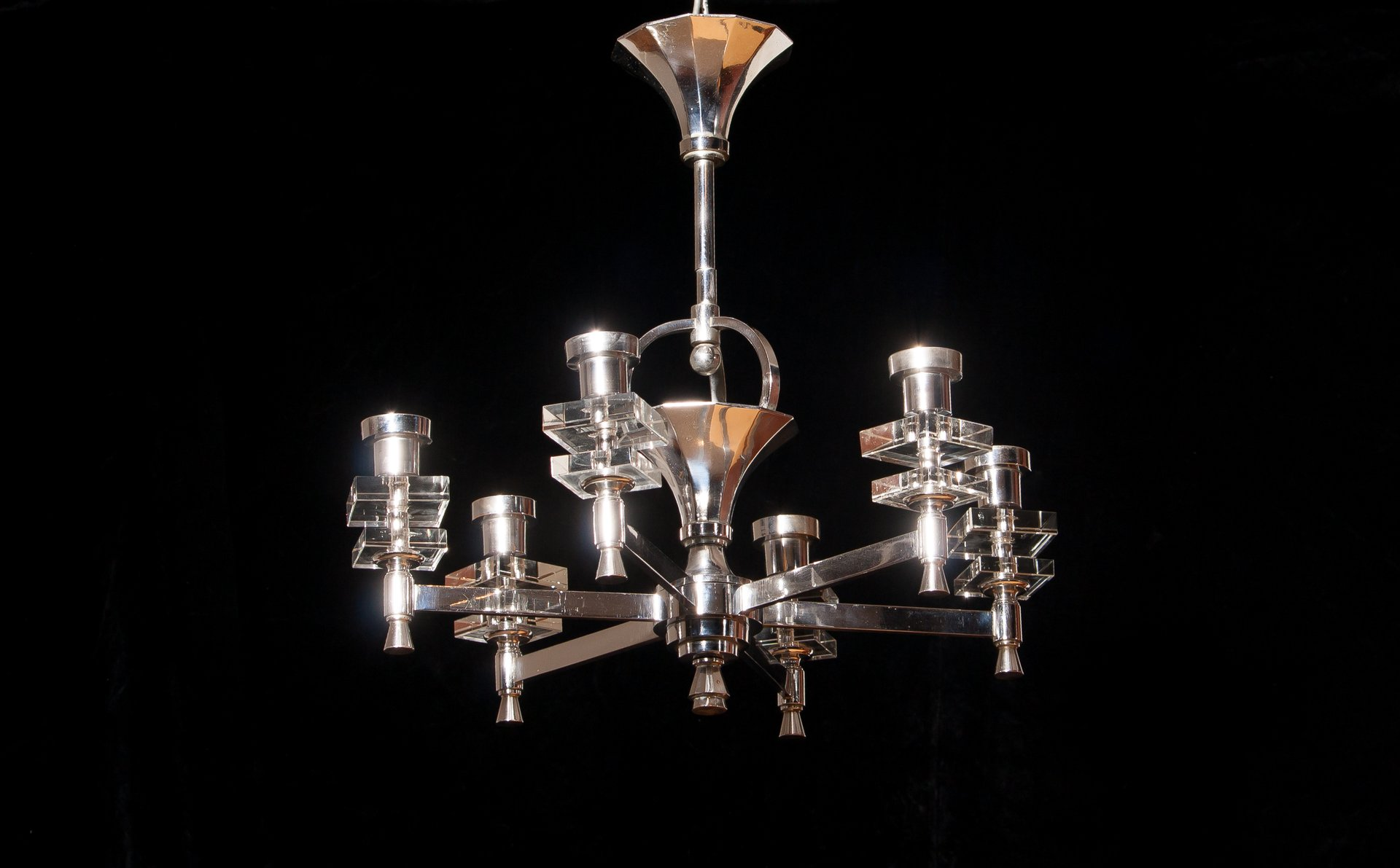 French Chrome & Crystal Chandelier 1950s for sale at Pamono