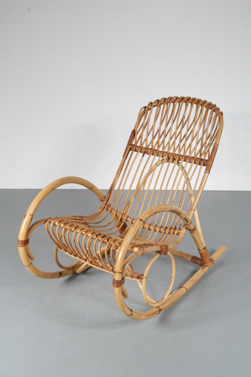 rattan rocking chair 1950s for sale at pamono. Black Bedroom Furniture Sets. Home Design Ideas