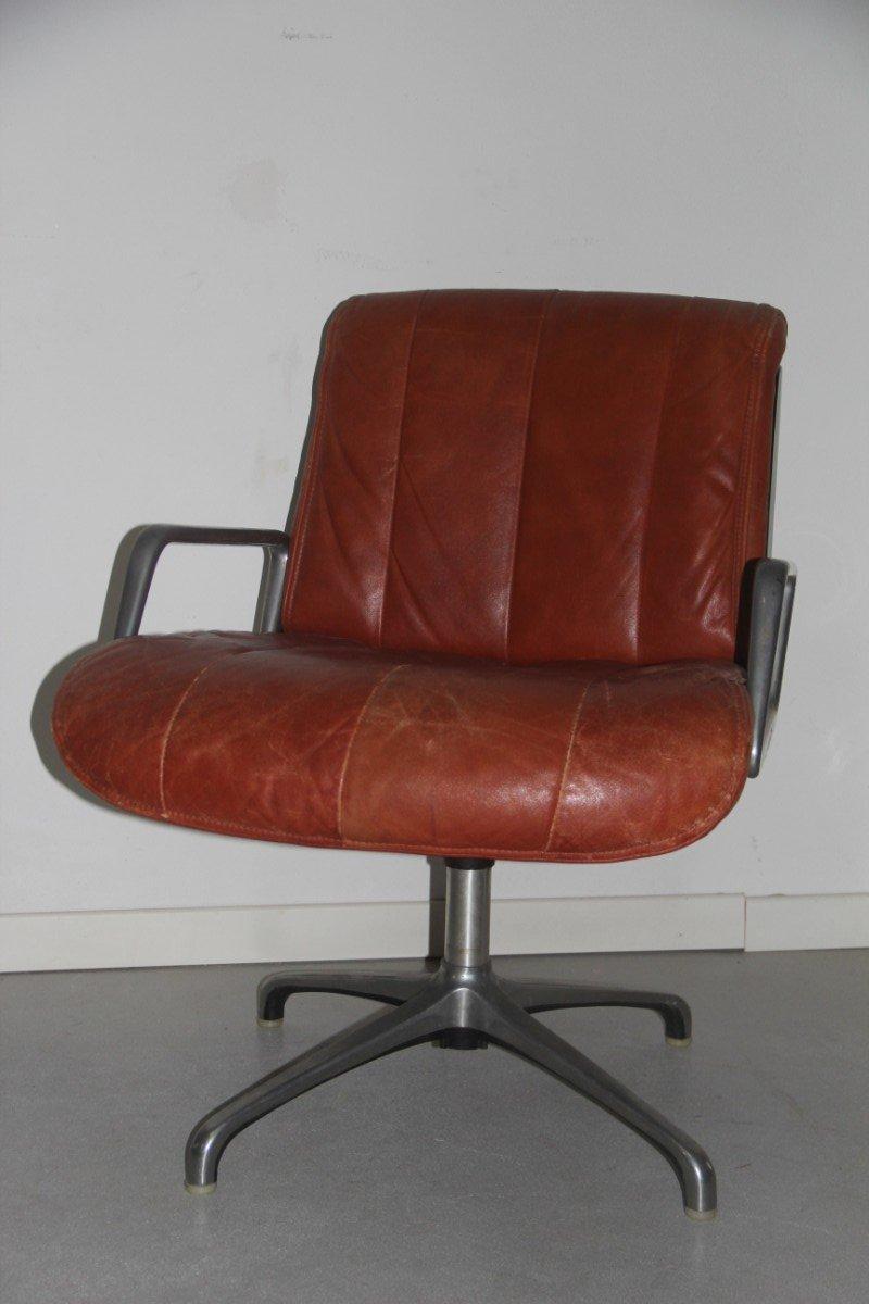 italienische leder schreibtischst hle 1960er 2er set bei. Black Bedroom Furniture Sets. Home Design Ideas