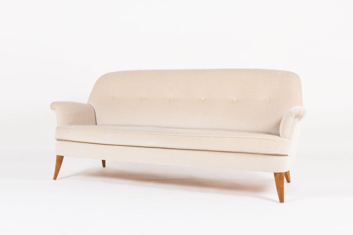 Swedish Sofa In Beige Mohair Velvet 1950s For Sale At Pamono