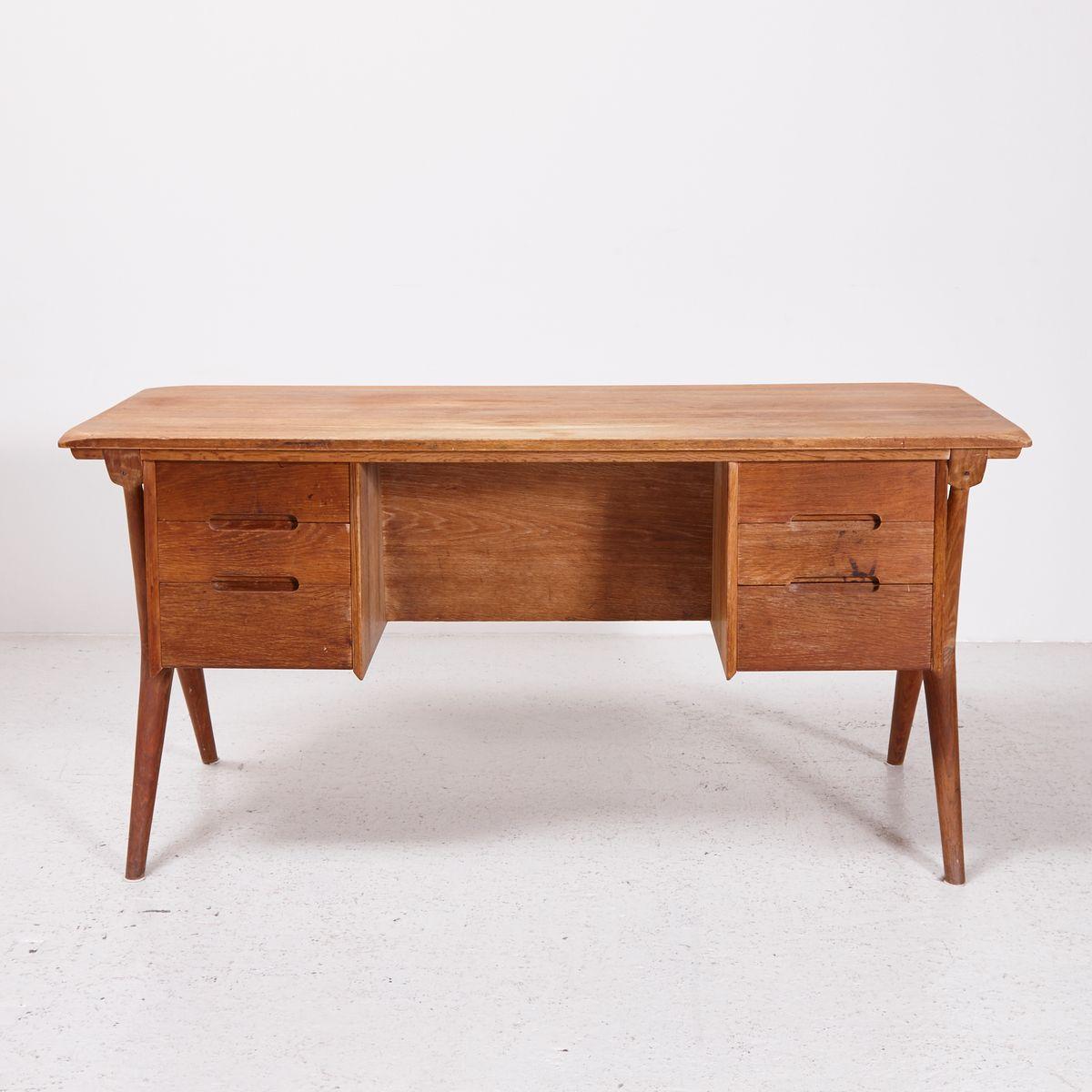 vintage six drawer oak desk 1960s for sale at pamono. Black Bedroom Furniture Sets. Home Design Ideas