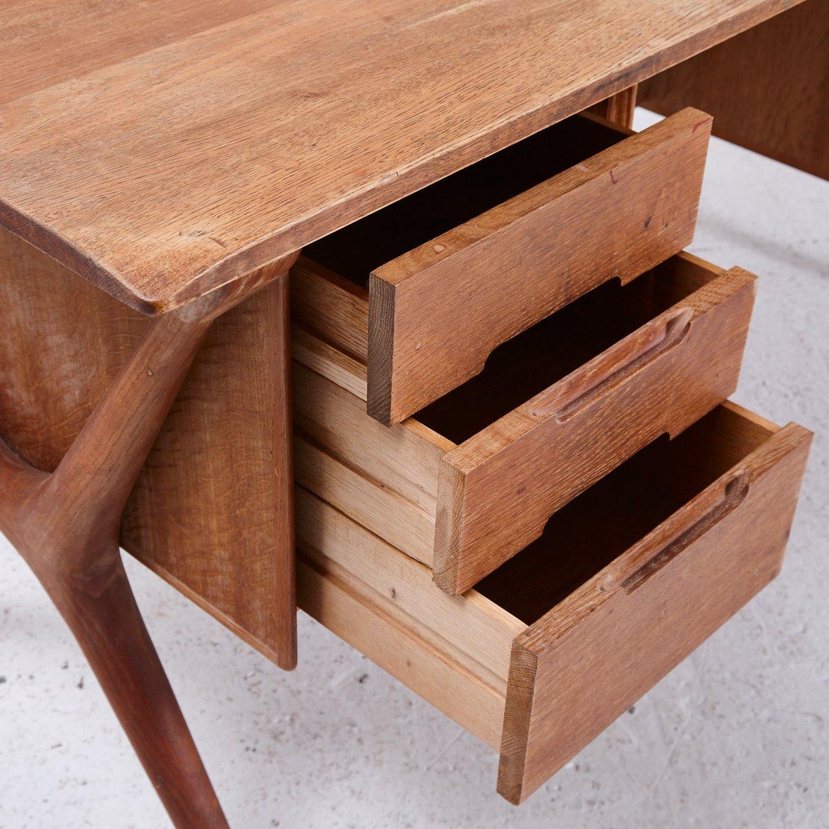 Oak Desk With Drawers ~ Vintage six drawer oak desk s for sale at pamono