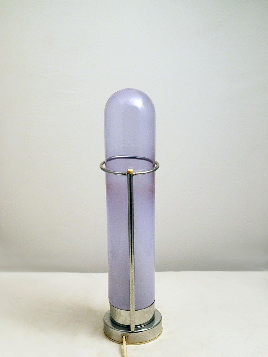 italienische tischlampe aus glas und verchromten metall 1970er bei pamono kaufen. Black Bedroom Furniture Sets. Home Design Ideas