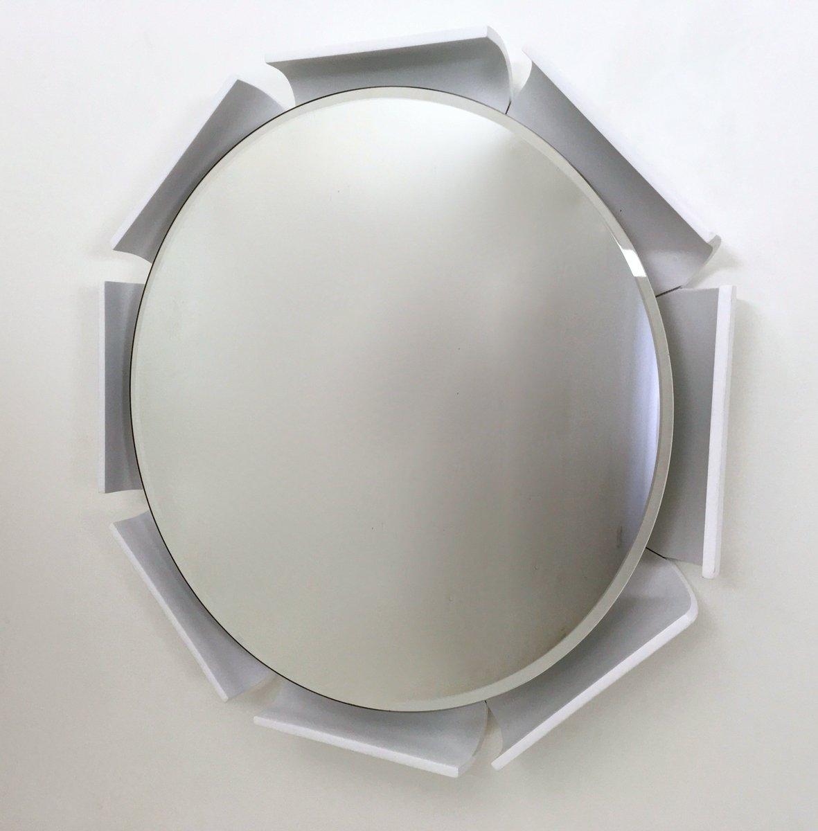 wei lackierter spiegel mit holzrahmen 1970er bei pamono. Black Bedroom Furniture Sets. Home Design Ideas