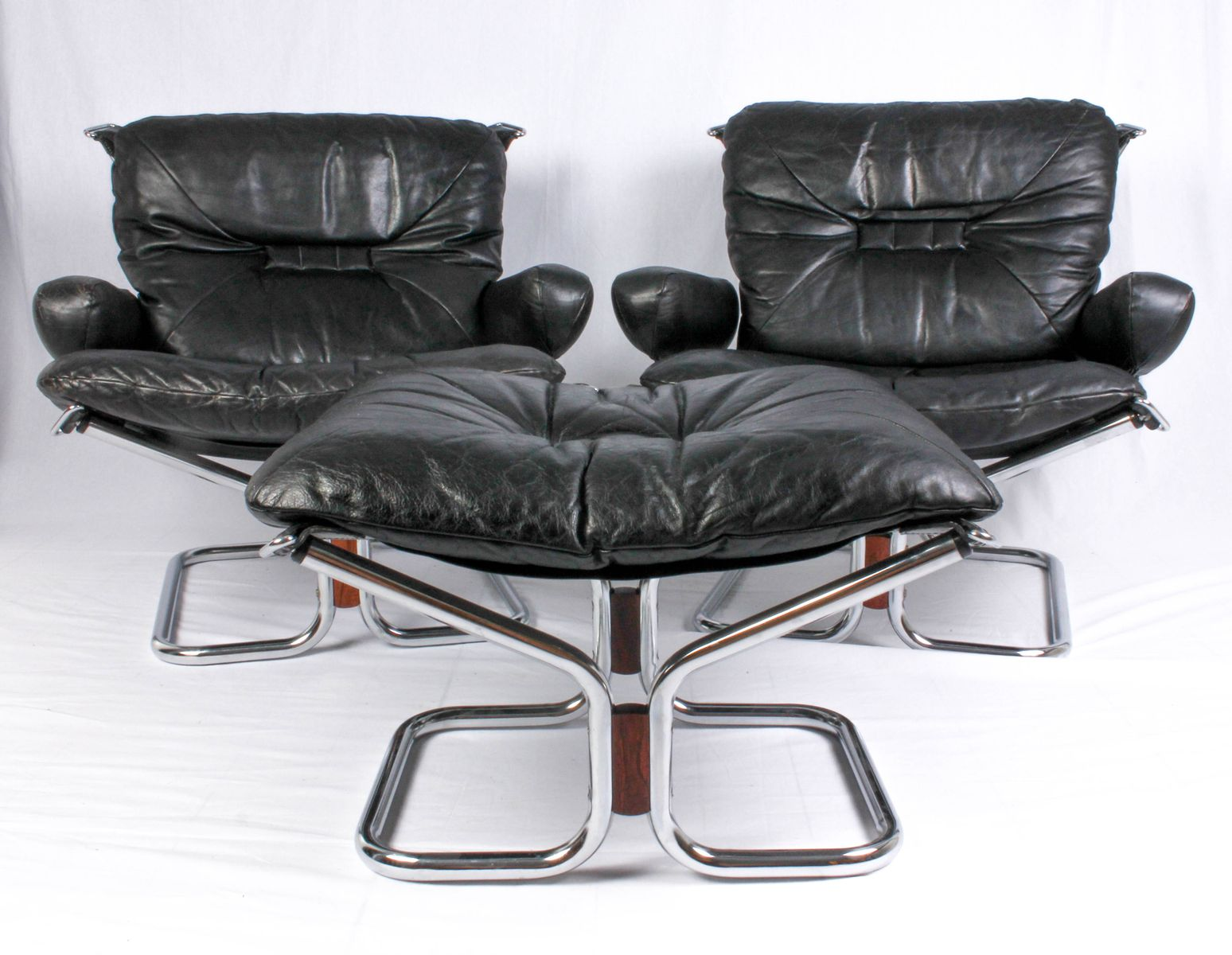 Mid Century Lounge Chairs Ottoman By Ingmar Relling 1950s For