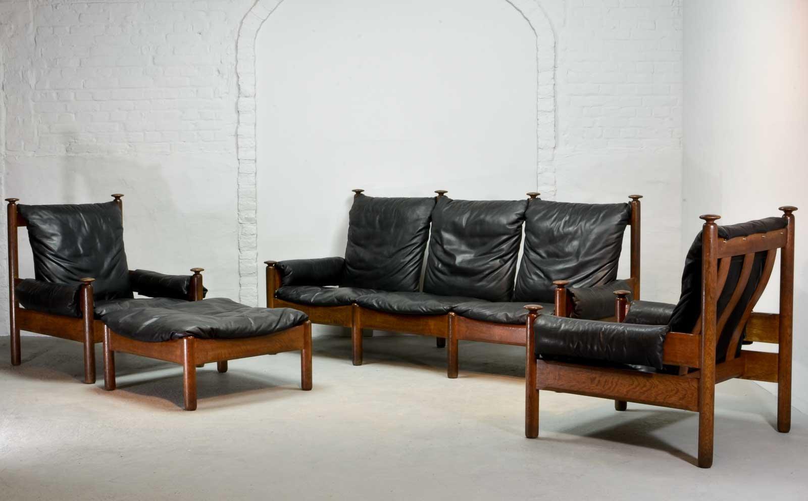 Mid Century Scandinavian Black Leather Sofa Set, 1960s