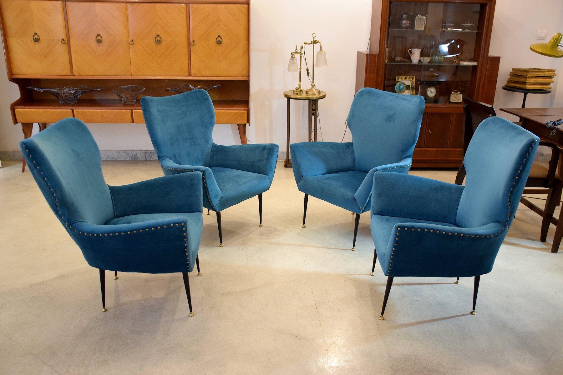 geschwungene italienische sessel 1950er 2er set bei. Black Bedroom Furniture Sets. Home Design Ideas