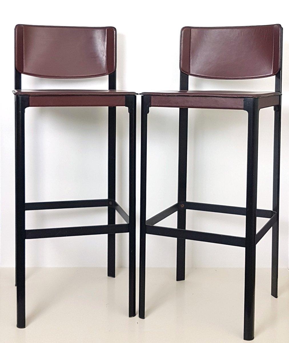 barhocker aus leder von matteo grassi 1970er 2er set bei. Black Bedroom Furniture Sets. Home Design Ideas