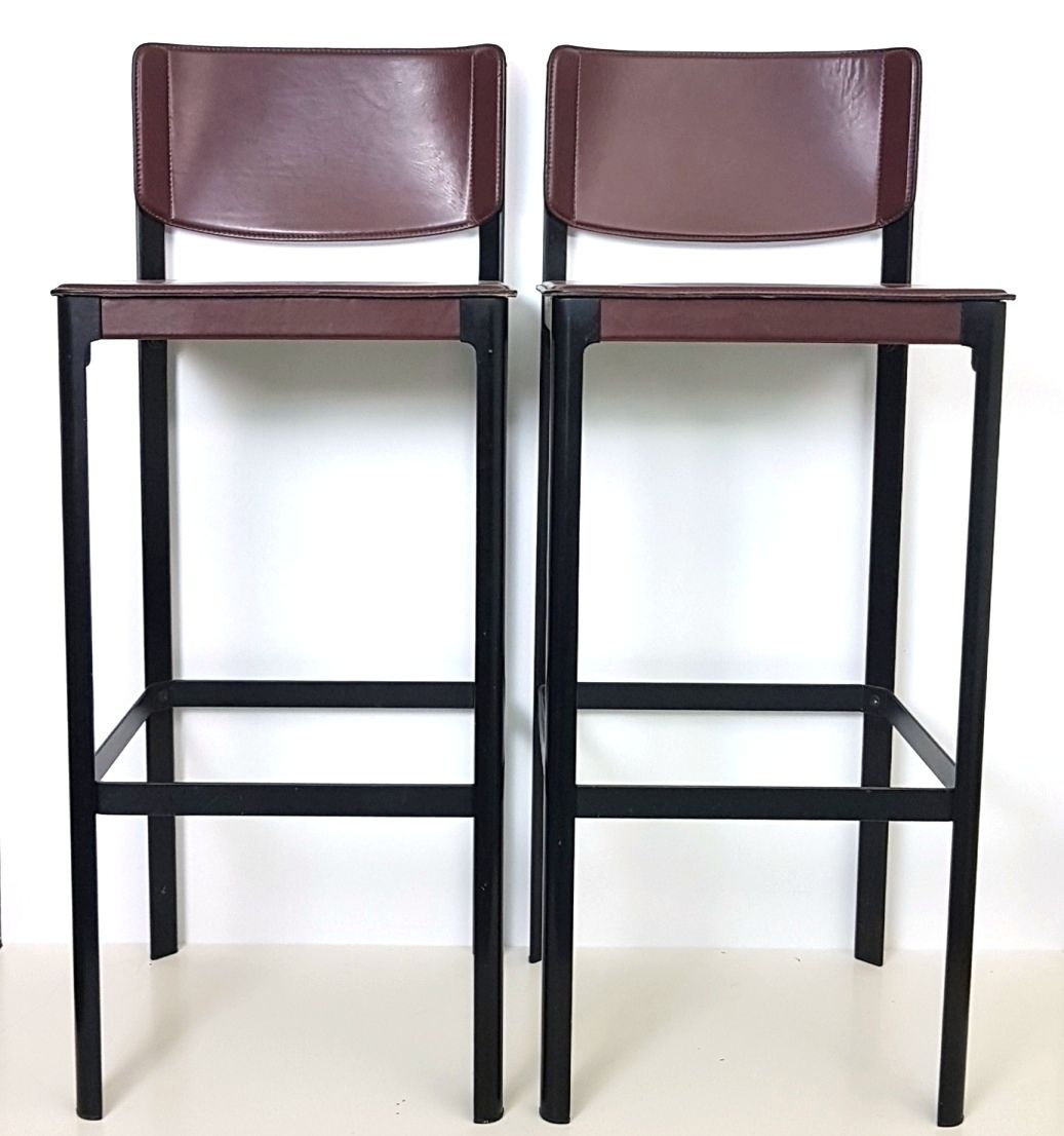 south mission bar stools.leather bar stools from matteo grassi 1970s 1970s Bar Stools