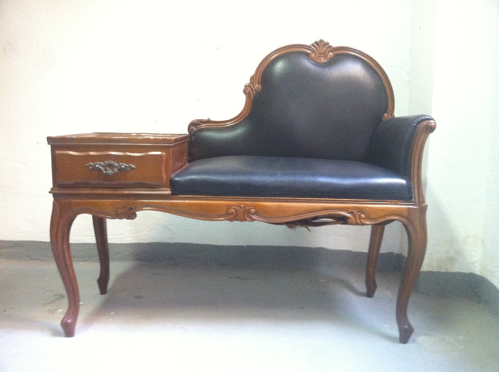 vintage telephone bench 1940s for sale at pamono. Black Bedroom Furniture Sets. Home Design Ideas