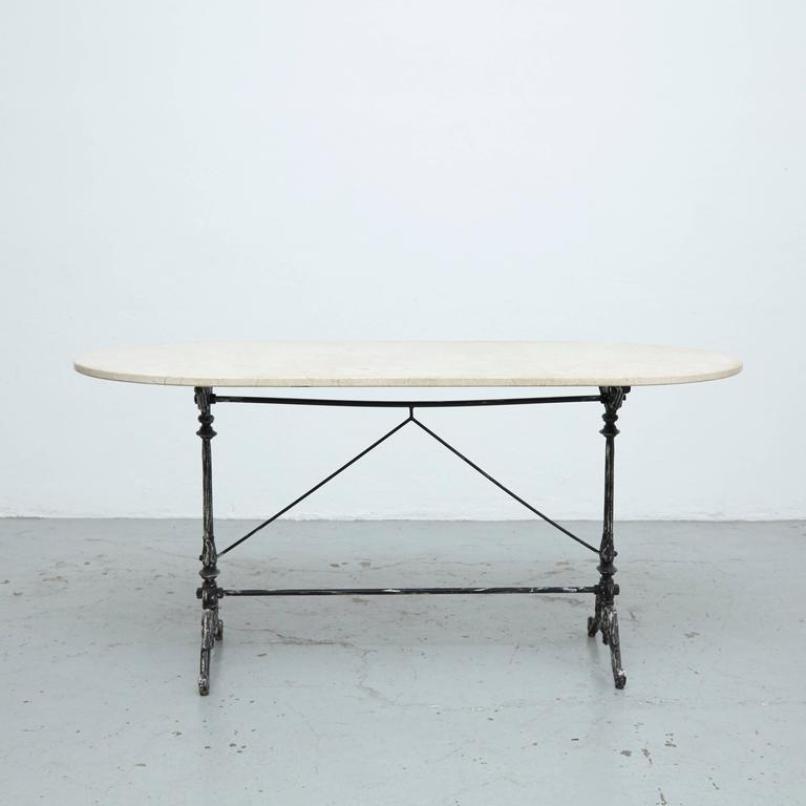 franz sischer tisch mit marmorplatte 1950er bei pamono kaufen. Black Bedroom Furniture Sets. Home Design Ideas