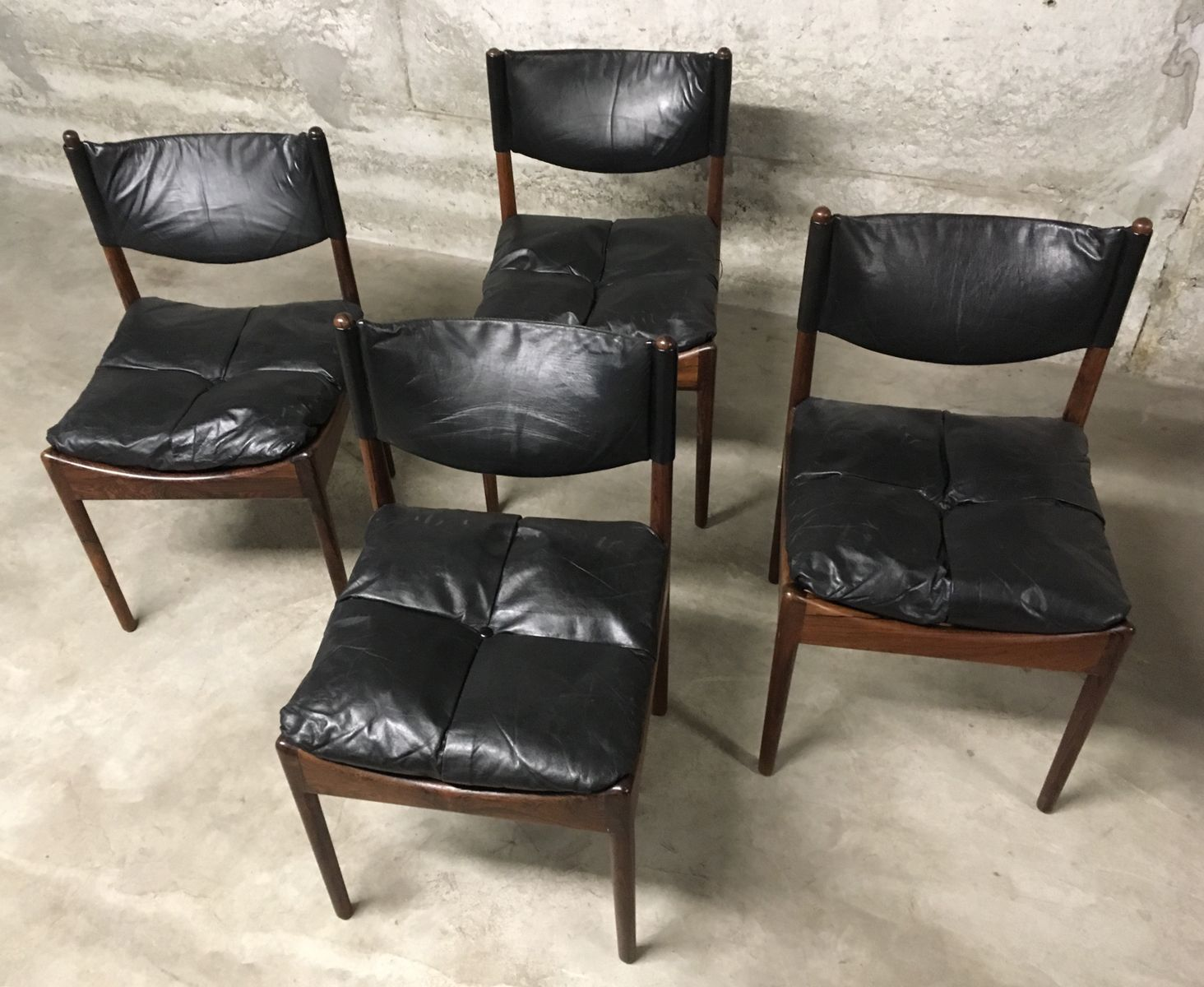 d nische mid century st hle aus rio palisander schwarzem leder von kristian vedel f r soren. Black Bedroom Furniture Sets. Home Design Ideas