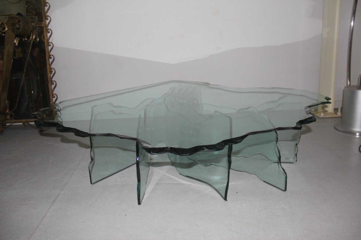 Captivating Shell Coffee Table By Danny Lane For Fiam, 1980s For Sale At Pamono Photo Gallery