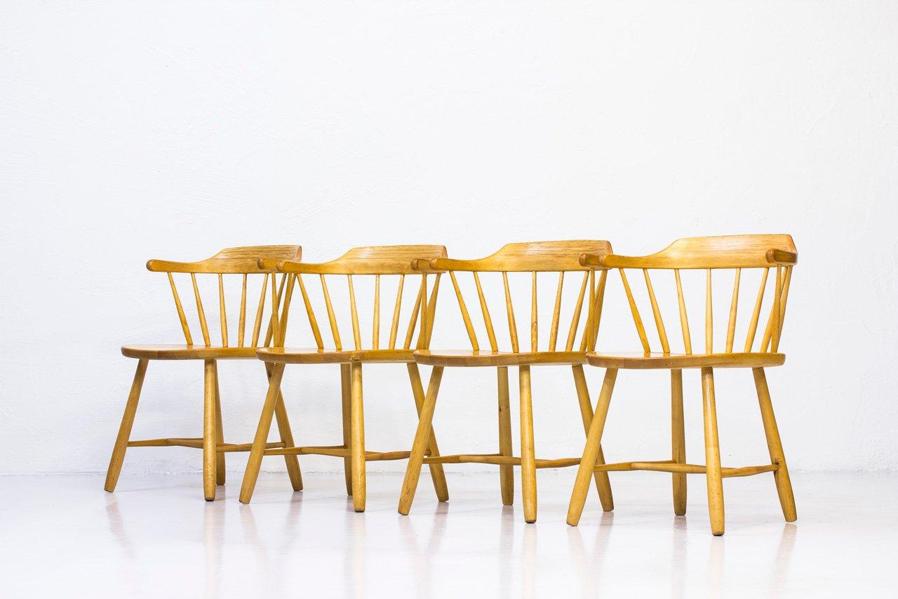 Småland Armchairs by Yngve Ekström for Stolab, 1960s, Set of 4 for sale at Pamono