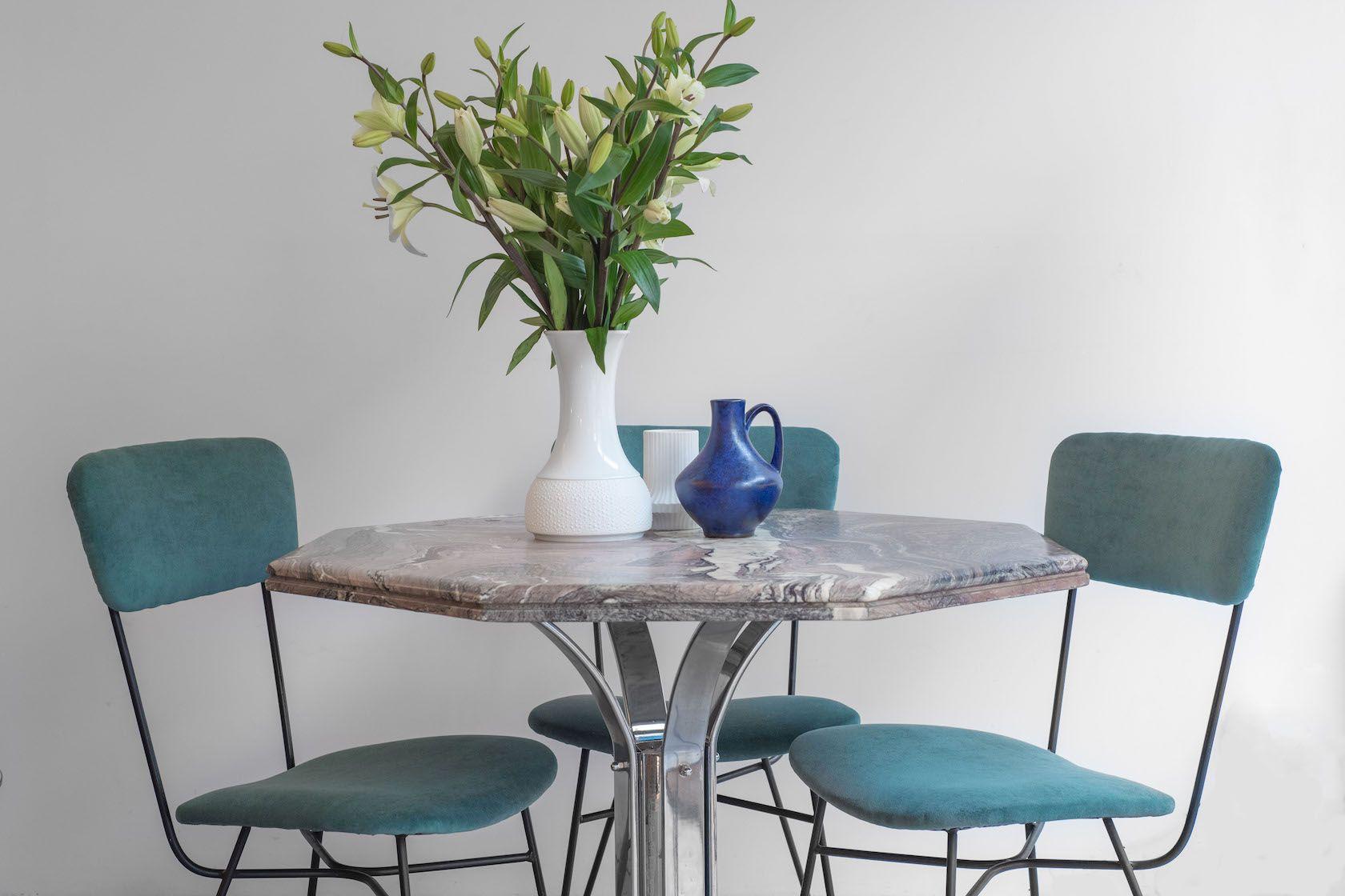 italienische st hle mit gr nem samt 1950er 6er set bei pamono kaufen. Black Bedroom Furniture Sets. Home Design Ideas