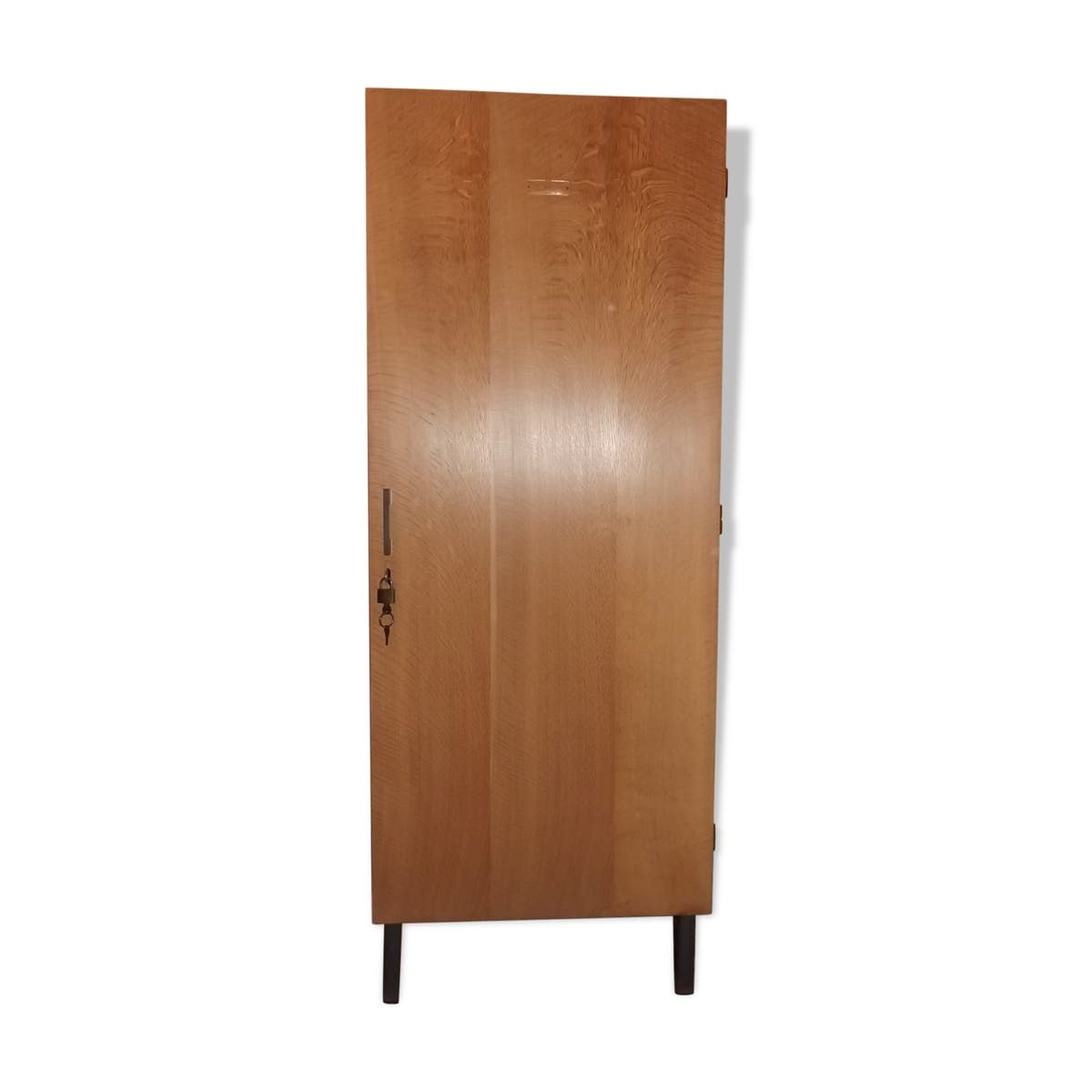 abschlie barer mid century schrank aus teak eiche furnier bei pamono kaufen. Black Bedroom Furniture Sets. Home Design Ideas