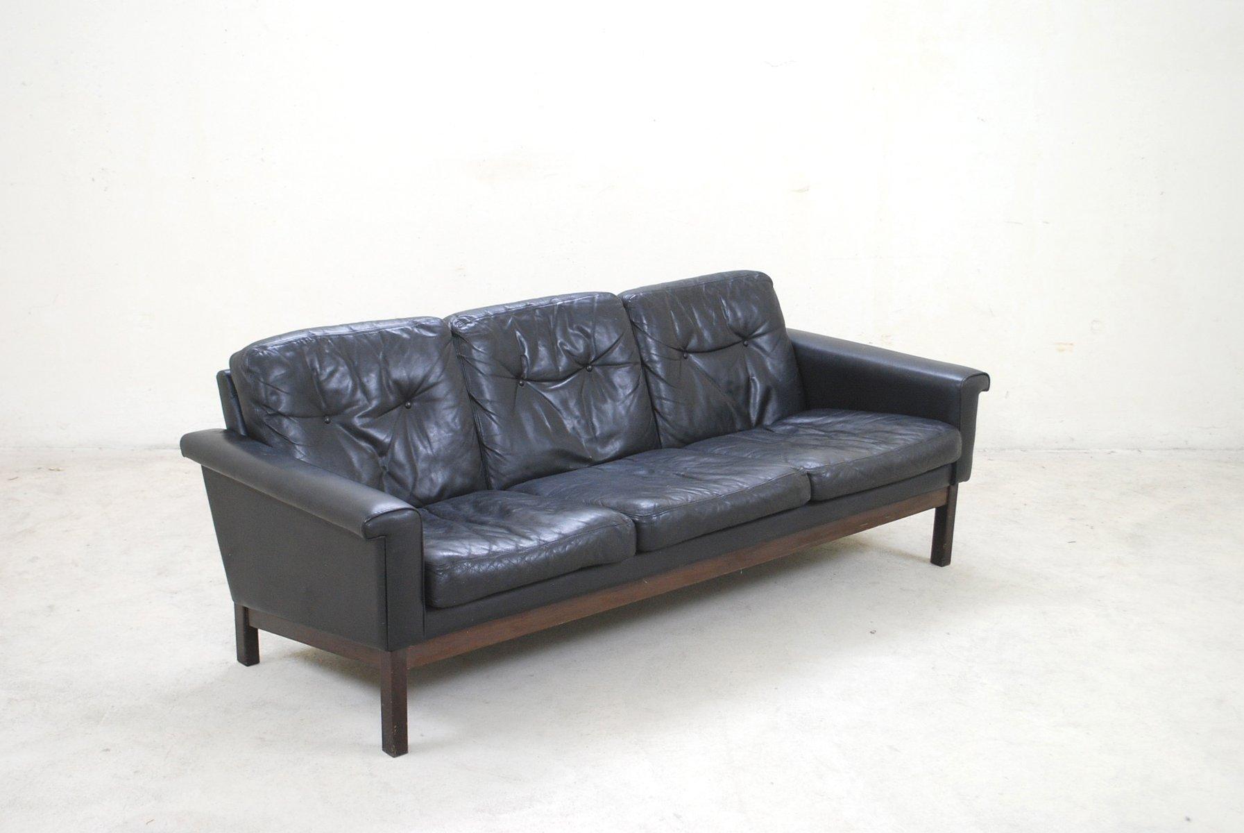 schwarzes vintage leder sofa von asko bei pamono kaufen. Black Bedroom Furniture Sets. Home Design Ideas
