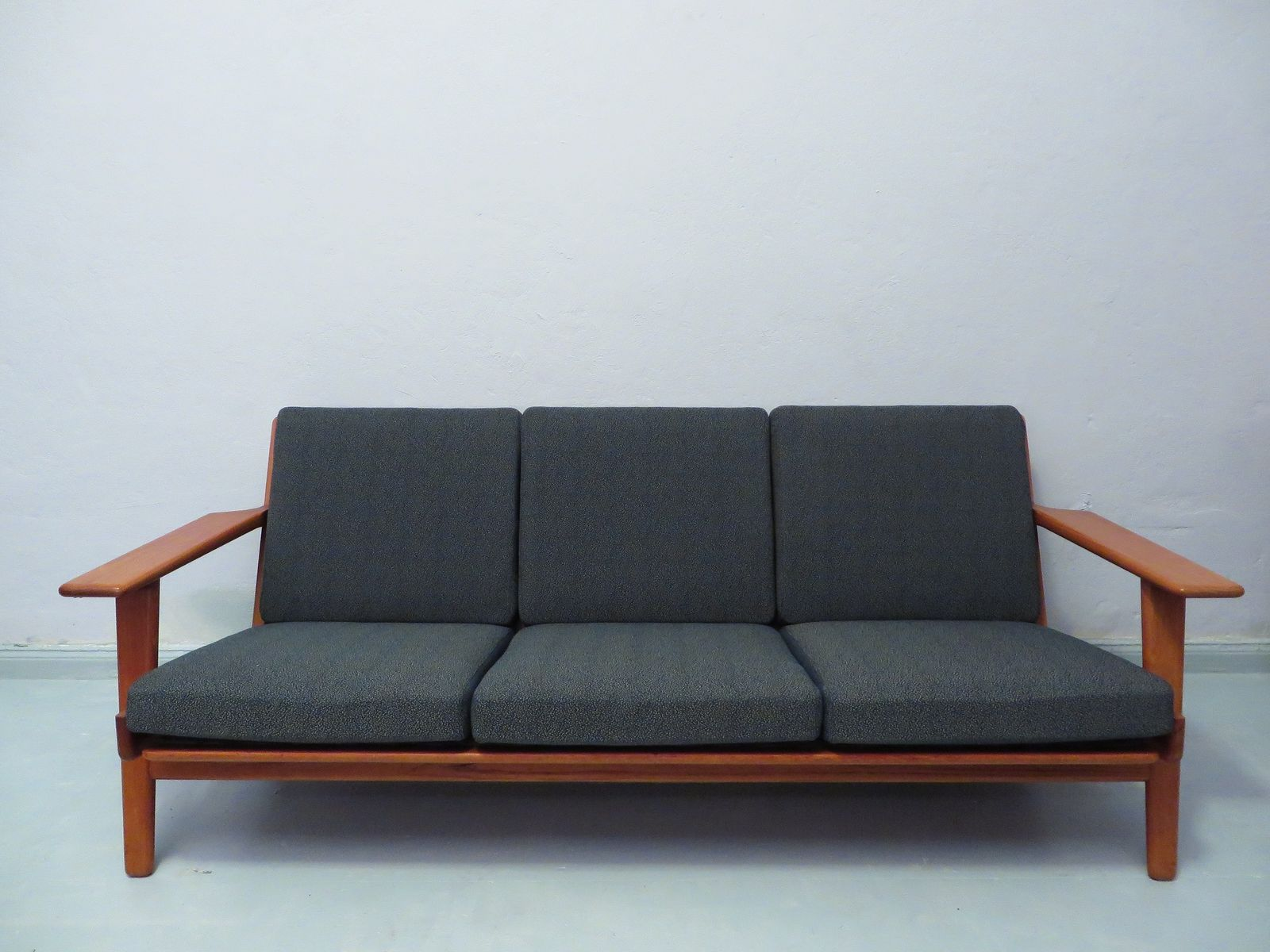 High Quality Three Seater Teak GE 290 Sofa By Hans Wegner For Getama, 1960s